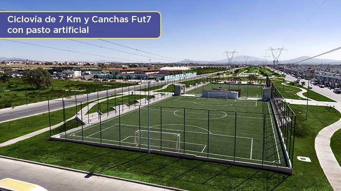 Ciclovías y cancha de fútbol, Los Héroes Tizayuca
